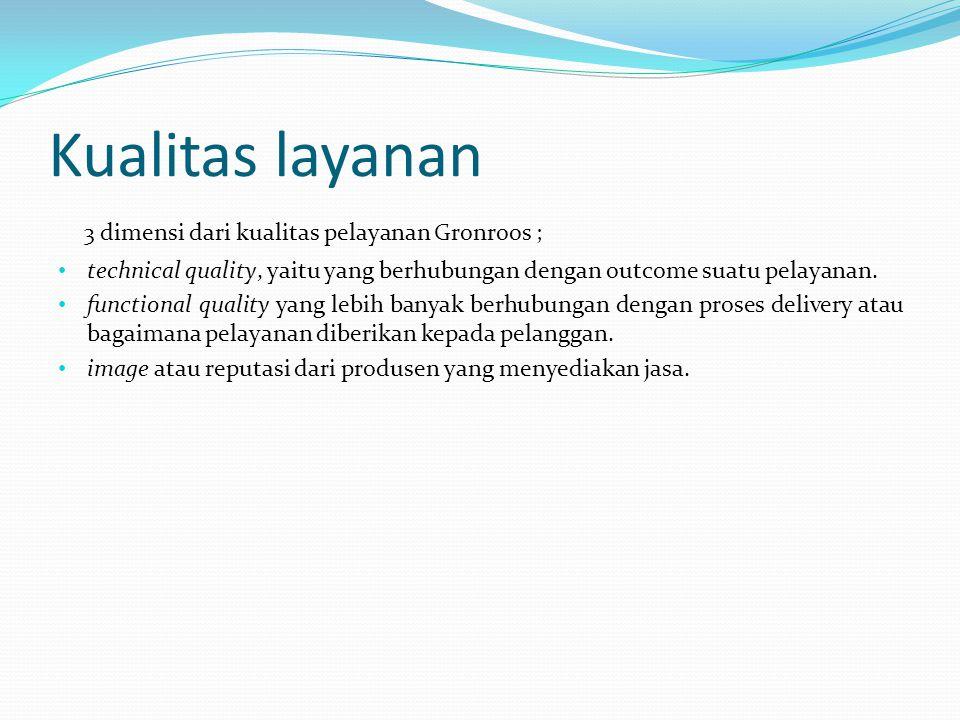 Kualitas layanan 3 dimensi dari kualitas pelayanan Gronroos ;