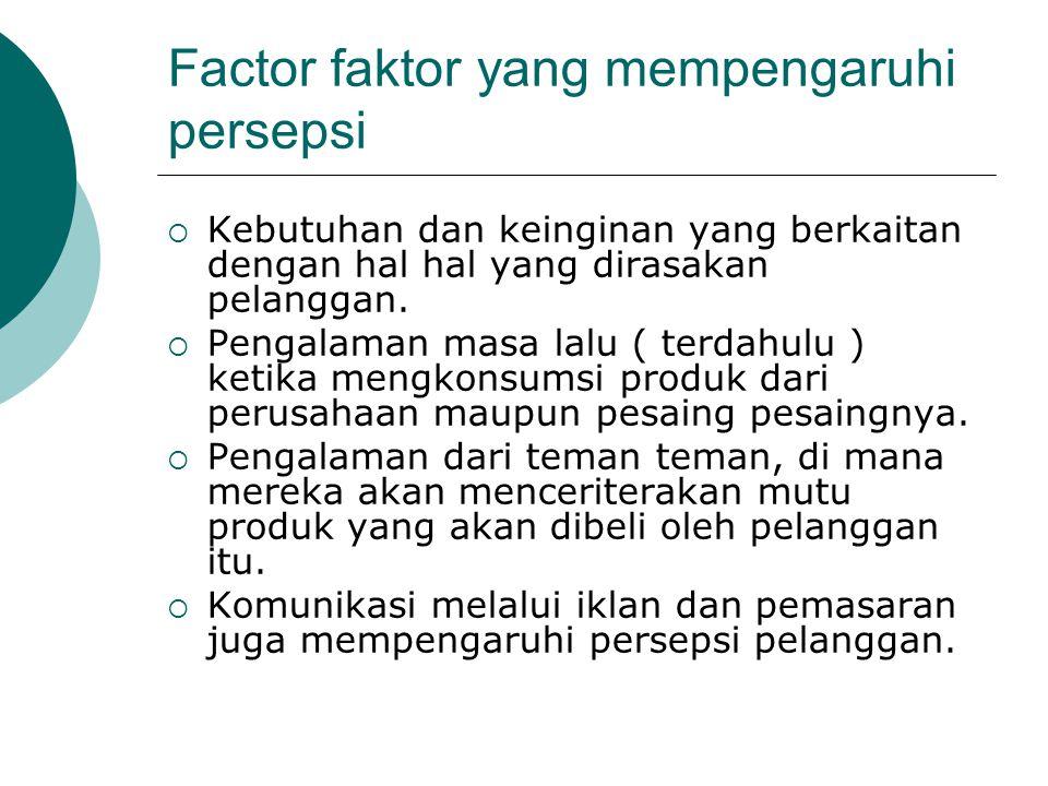 Factor faktor yang mempengaruhi persepsi