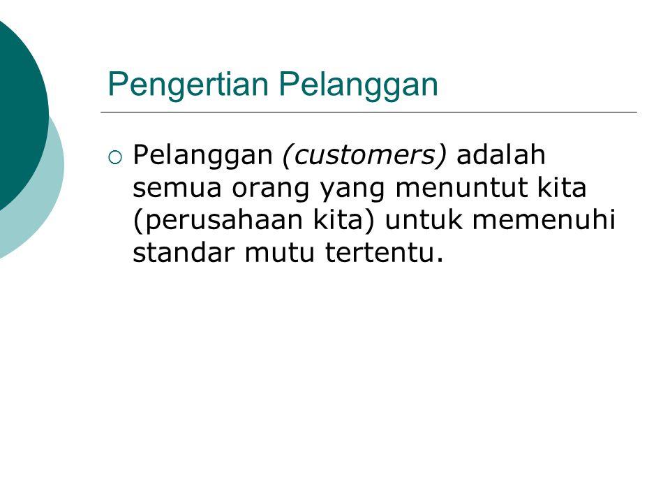 Pengertian Pelanggan Pelanggan (customers) adalah semua orang yang menuntut kita (perusahaan kita) untuk memenuhi standar mutu tertentu.