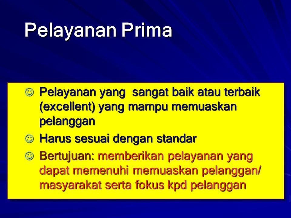 Pelayanan Prima Pelayanan yang sangat baik atau terbaik (excellent) yang mampu memuaskan pelanggan.