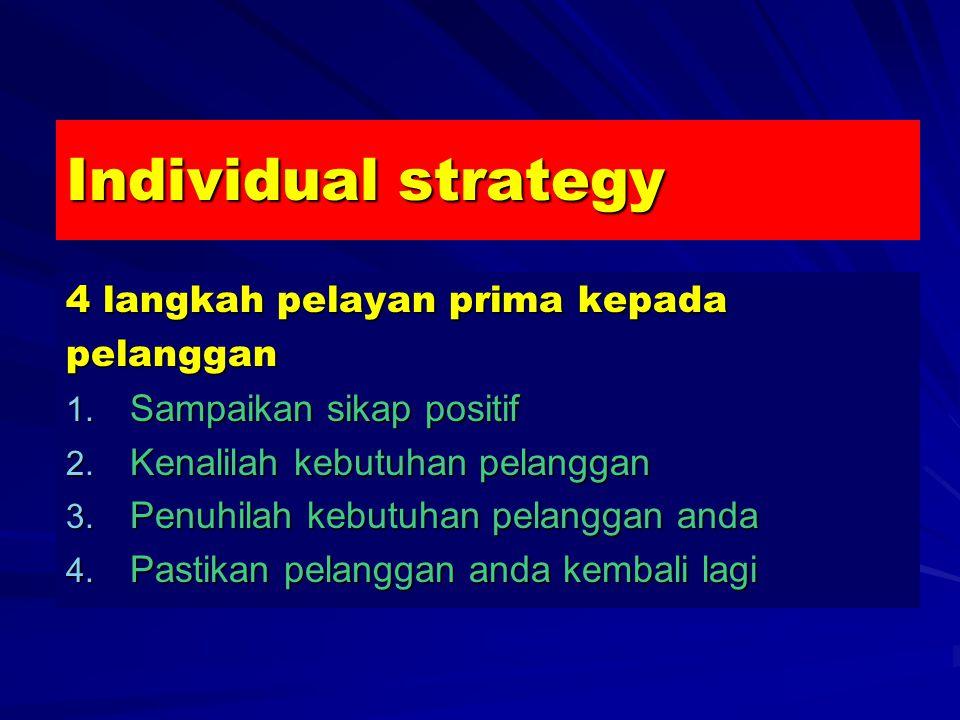 Individual strategy 4 langkah pelayan prima kepada pelanggan