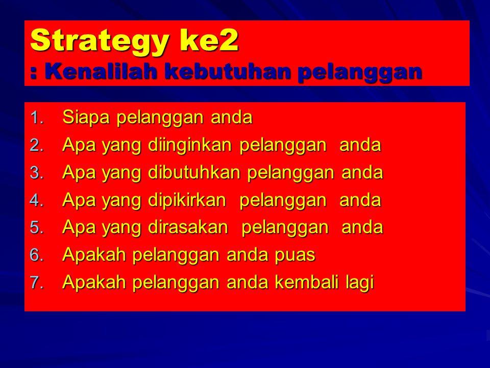 Strategy ke2 : Kenalilah kebutuhan pelanggan