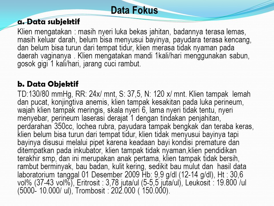 Data Fokus a. Data subjektif