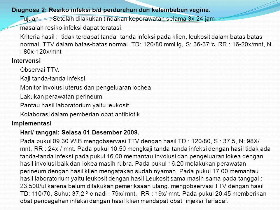 Diagnosa 2: Resiko infeksi b/d perdarahan dan kelembaban vagina
