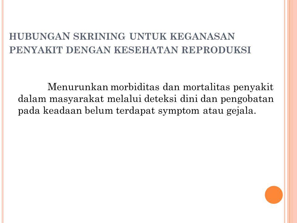 hubungaN skrining untuk keganasan penyakit dengan kesehatan reproduksi