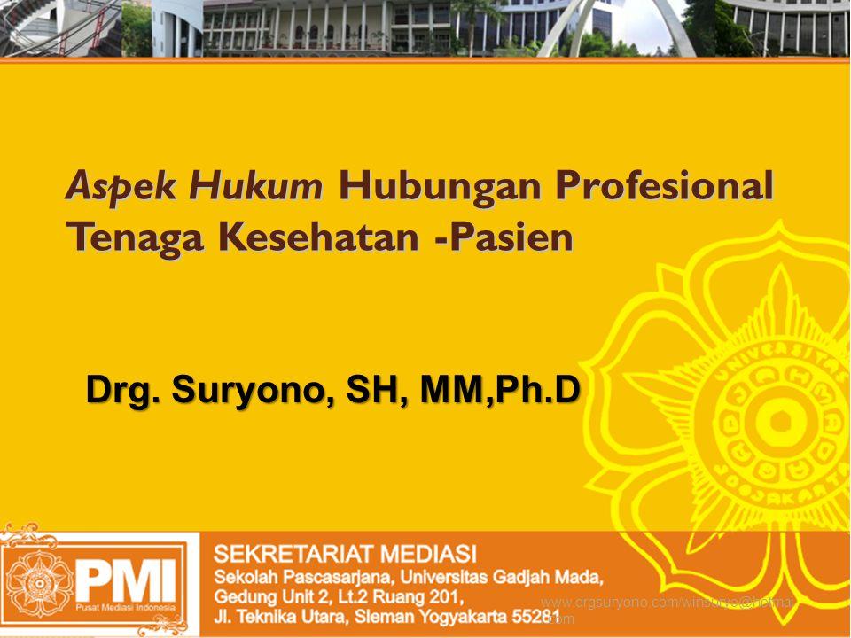 Aspek Hukum Hubungan Profesional Tenaga Kesehatan -Pasien