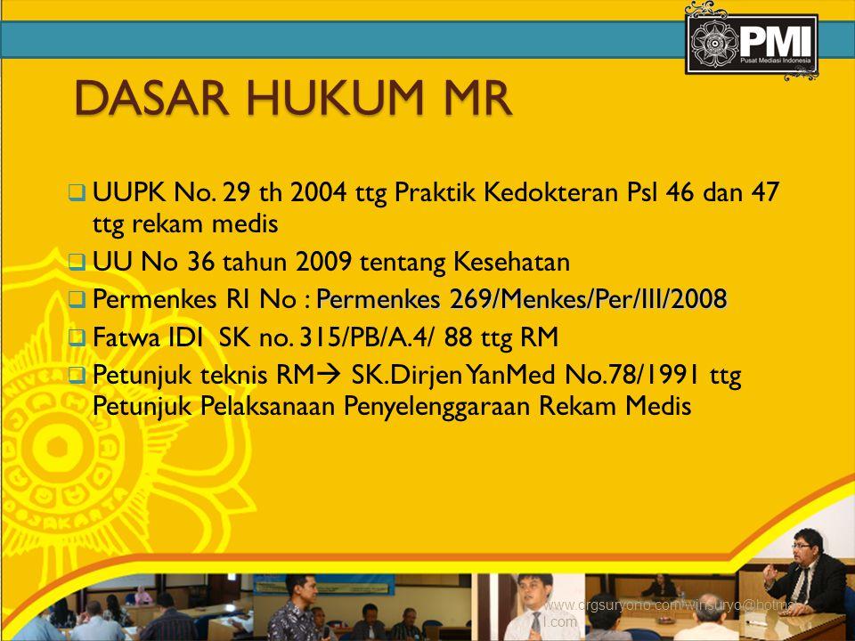 DASAR HUKUM MR UUPK No. 29 th 2004 ttg Praktik Kedokteran Psl 46 dan 47 ttg rekam medis. UU No 36 tahun 2009 tentang Kesehatan.