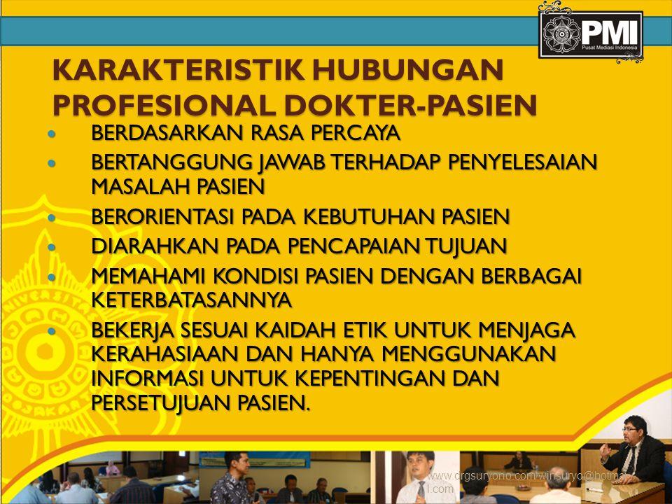 KARAKTERISTIK HUBUNGAN PROFESIONAL DOKTER-PASIEN