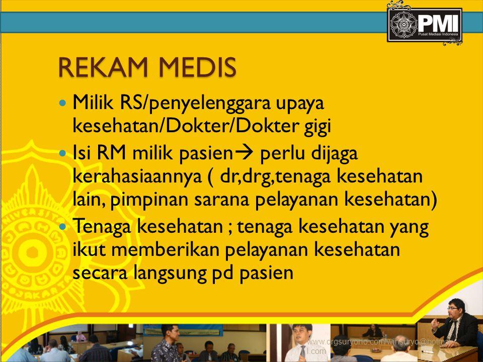 REKAM MEDIS Milik RS/penyelenggara upaya kesehatan/Dokter/Dokter gigi