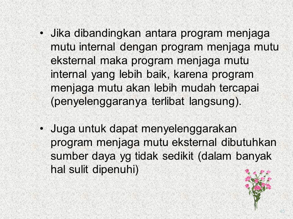 Jika dibandingkan antara program menjaga mutu internal dengan program menjaga mutu eksternal maka program menjaga mutu internal yang lebih baik, karena program menjaga mutu akan lebih mudah tercapai (penyelenggaranya terlibat langsung).