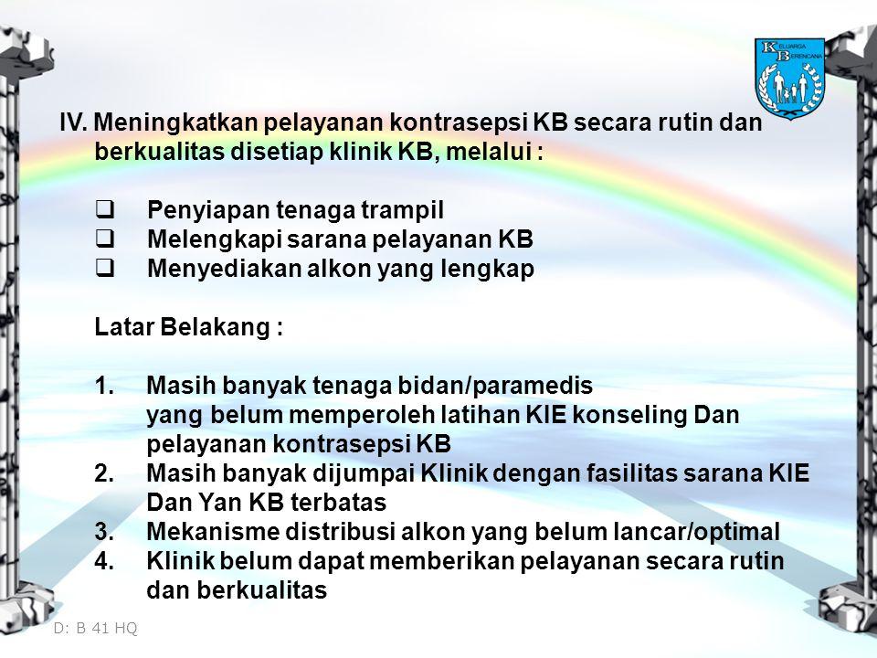 Penyiapan tenaga trampil Melengkapi sarana pelayanan KB