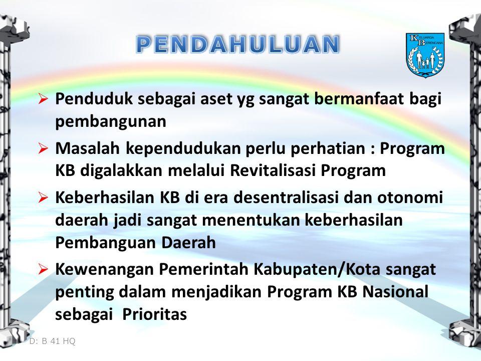 PENDAHULUAN Penduduk sebagai aset yg sangat bermanfaat bagi pembangunan.