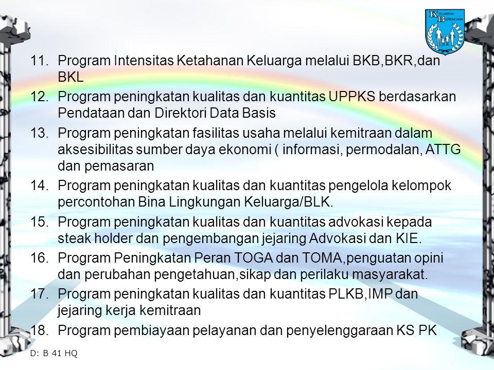 Program Intensitas Ketahanan Keluarga melalui BKB,BKR,dan BKL