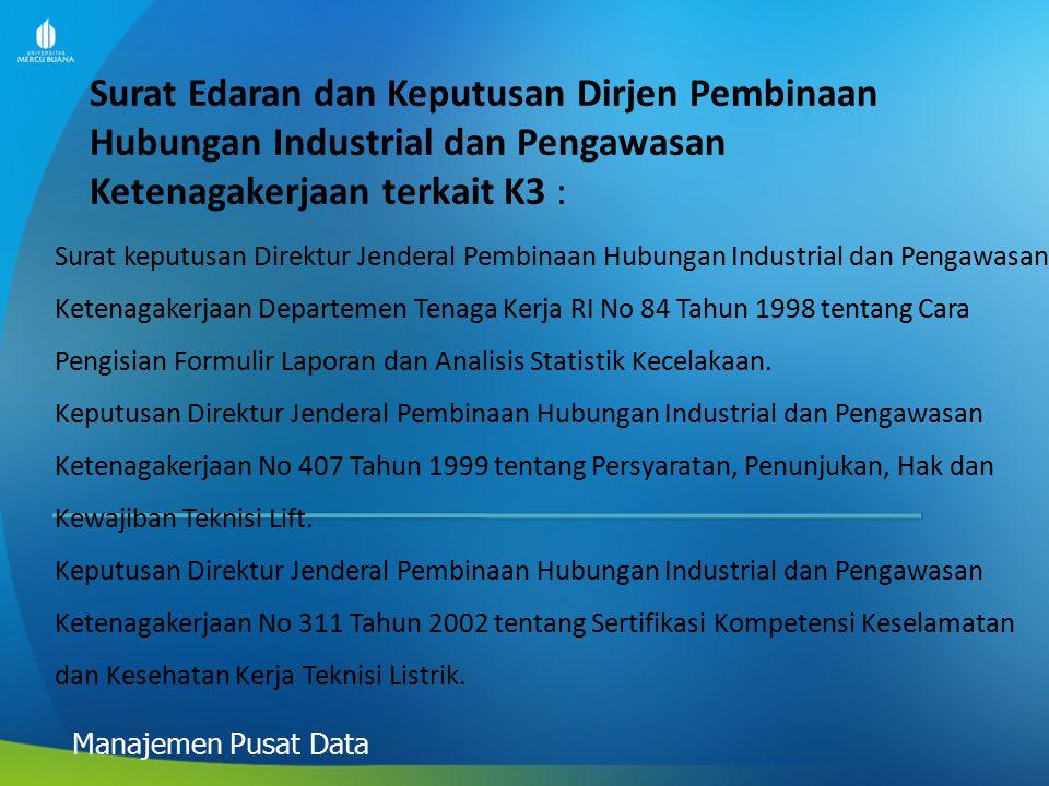 Surat Edaran dan Keputusan Dirjen Pembinaan Hubungan Industrial dan Pengawasan Ketenagakerjaan terkait K3 :