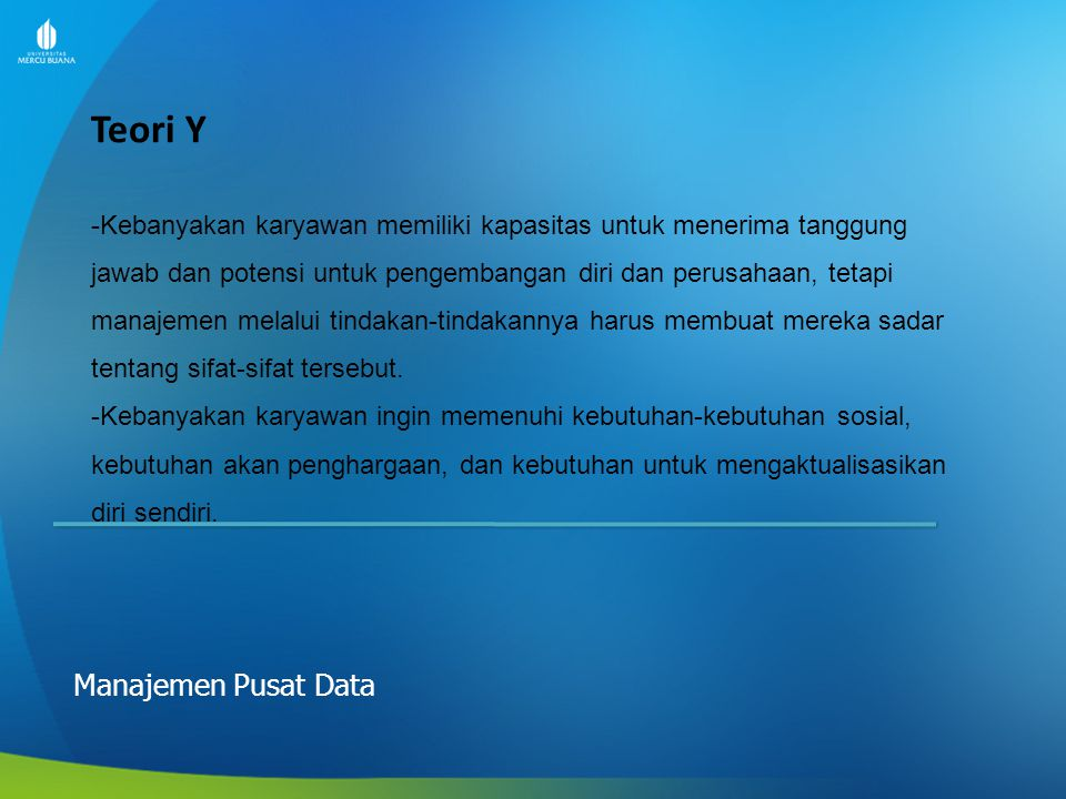 Teori Y Manajemen Pusat Data