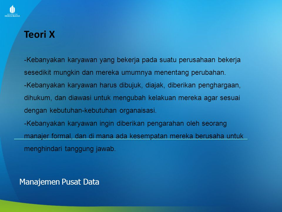 Teori X Manajemen Pusat Data