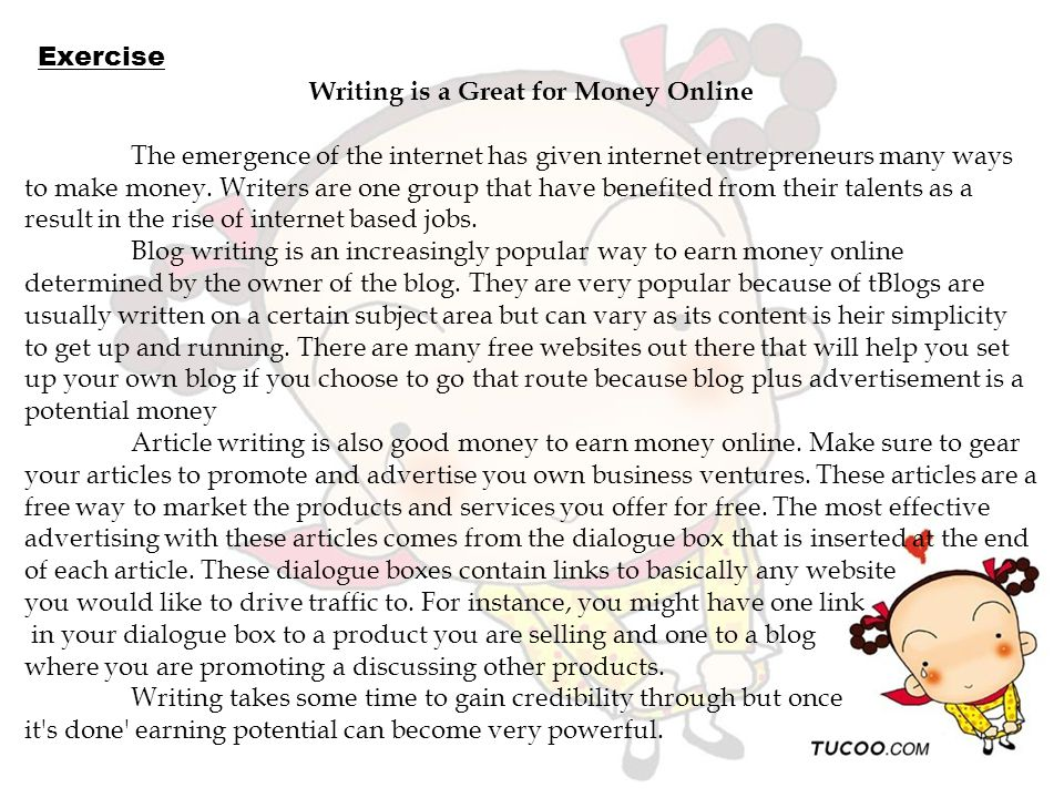 Writing is a Great for Money Online