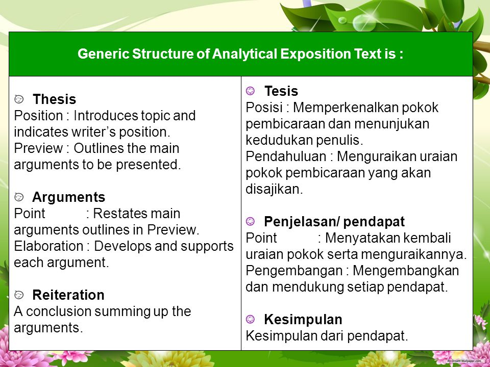 Generic Structure of Analytical Exposition Text is :