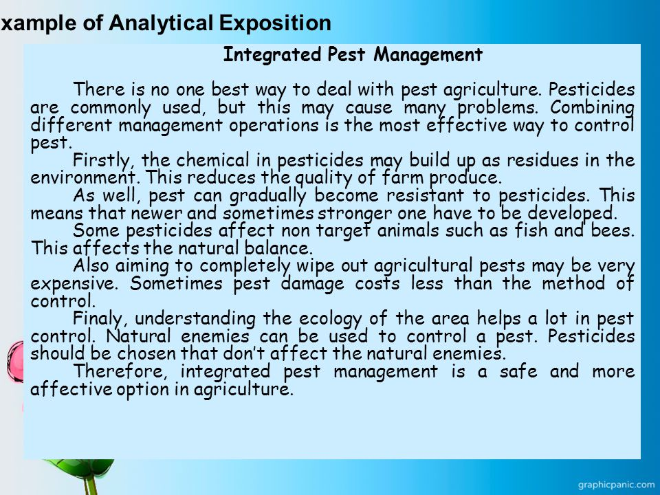 Example of Analytical Exposition Integrated Pest Management