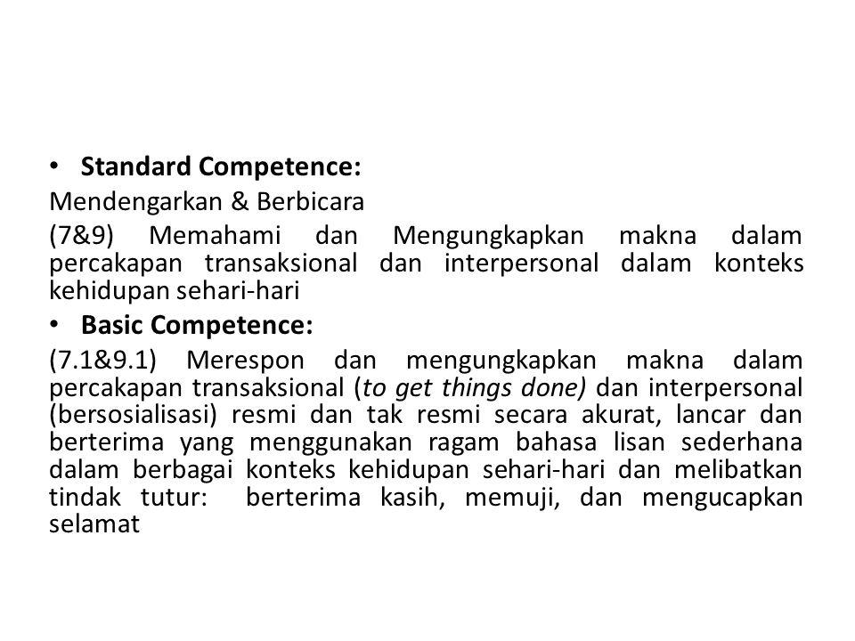 Standard Competence: Basic Competence: Mendengarkan & Berbicara