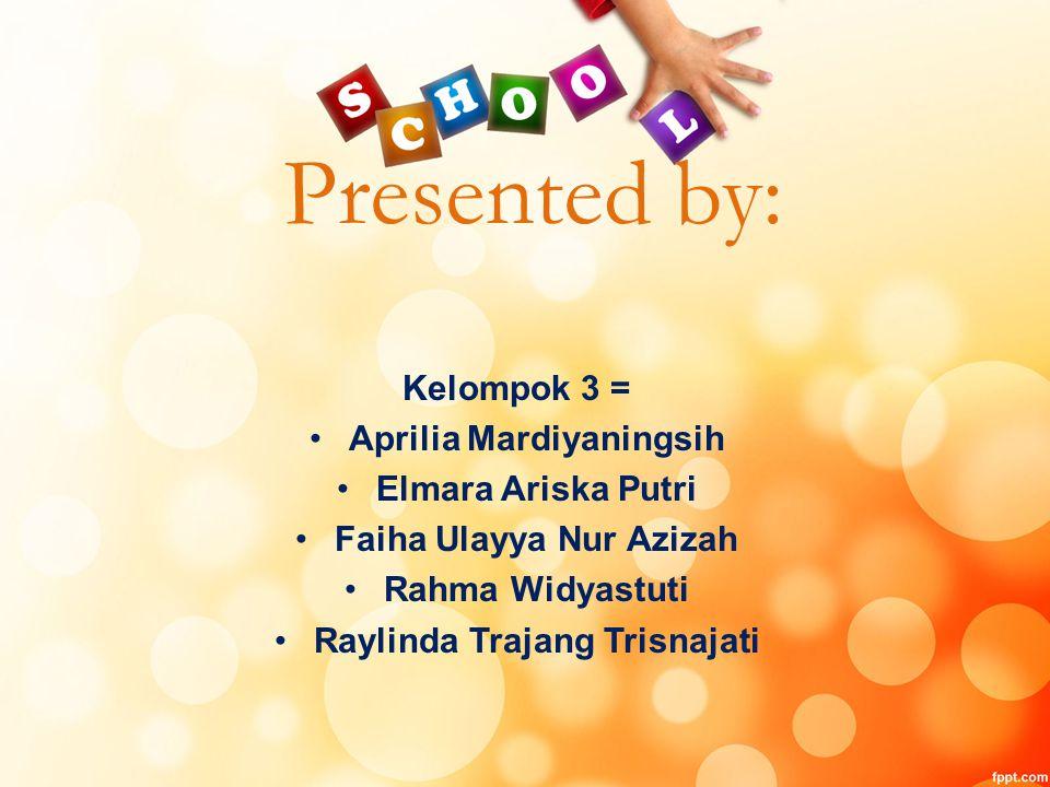 Presented by: Kelompok 3 = Aprilia Mardiyaningsih Elmara Ariska Putri
