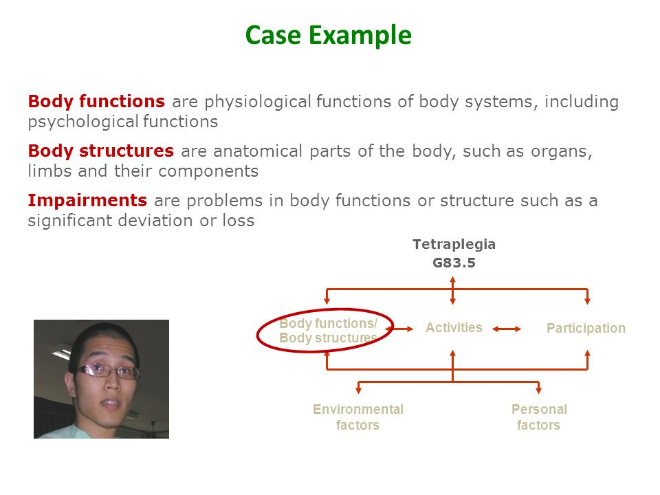Environmental factors Body functions/ Body structures