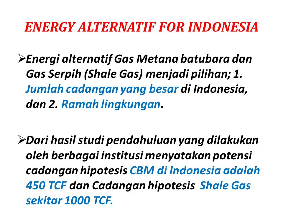 ENERGY ALTERNATIF FOR INDONESIA