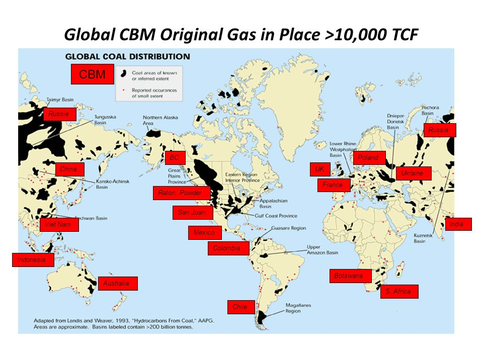 Global CBM Original Gas in Place >10,000 TCF