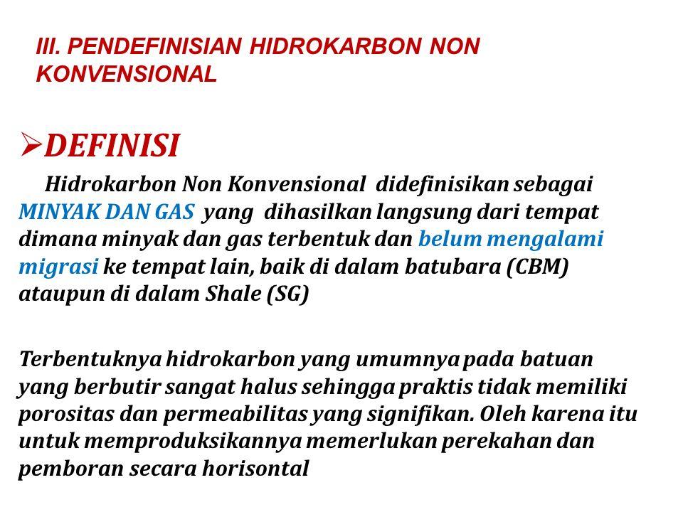 DEFINISI III. PENDEFINISIAN HIDROKARBON NON KONVENSIONAL