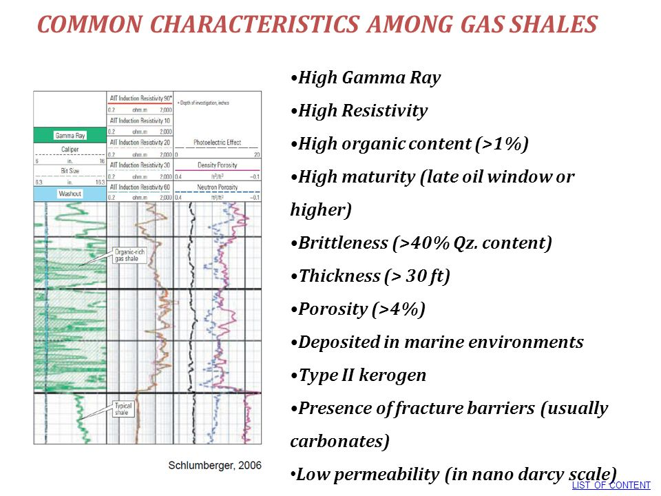 COMMON CHARACTERISTICS AMONG GAS SHALES