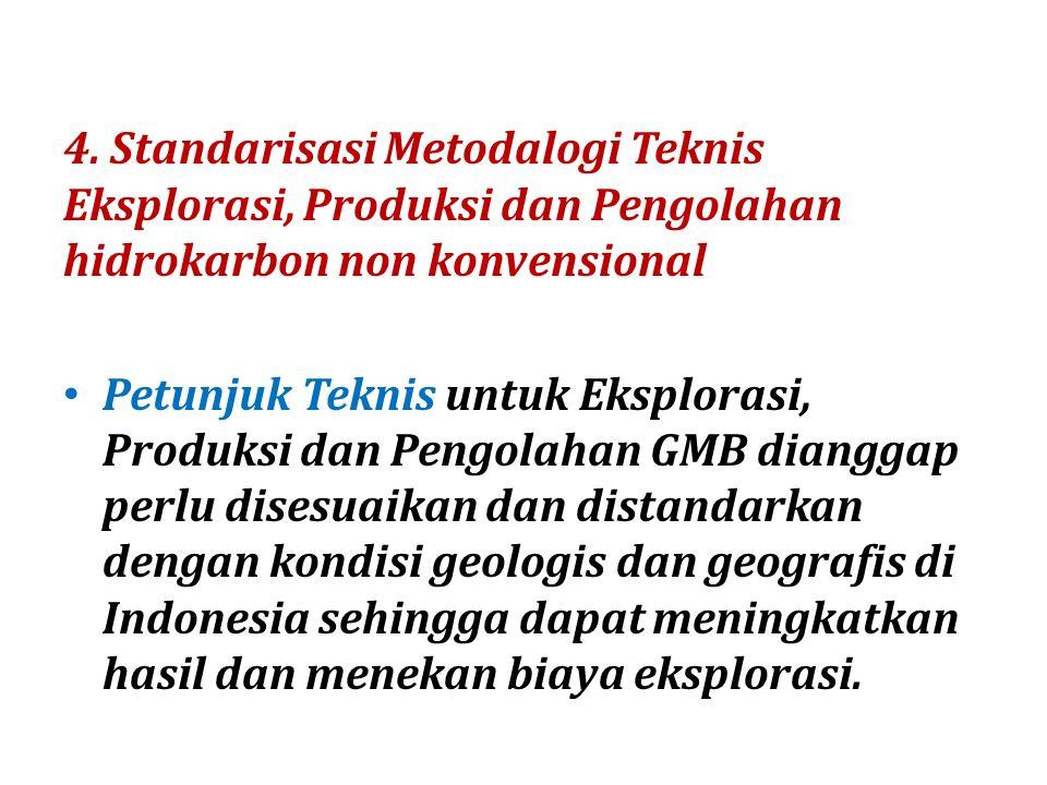 4. Standarisasi Metodalogi Teknis Eksplorasi, Produksi dan Pengolahan hidrokarbon non konvensional
