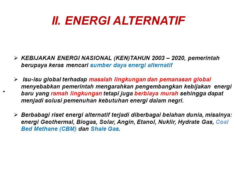 II. ENERGI ALTERNATIF KEBIJAKAN ENERGI NASIONAL (KEN)TAHUN 2003 – 2020, pemerintah berupaya keras mencari sumber daya energi alternatif.