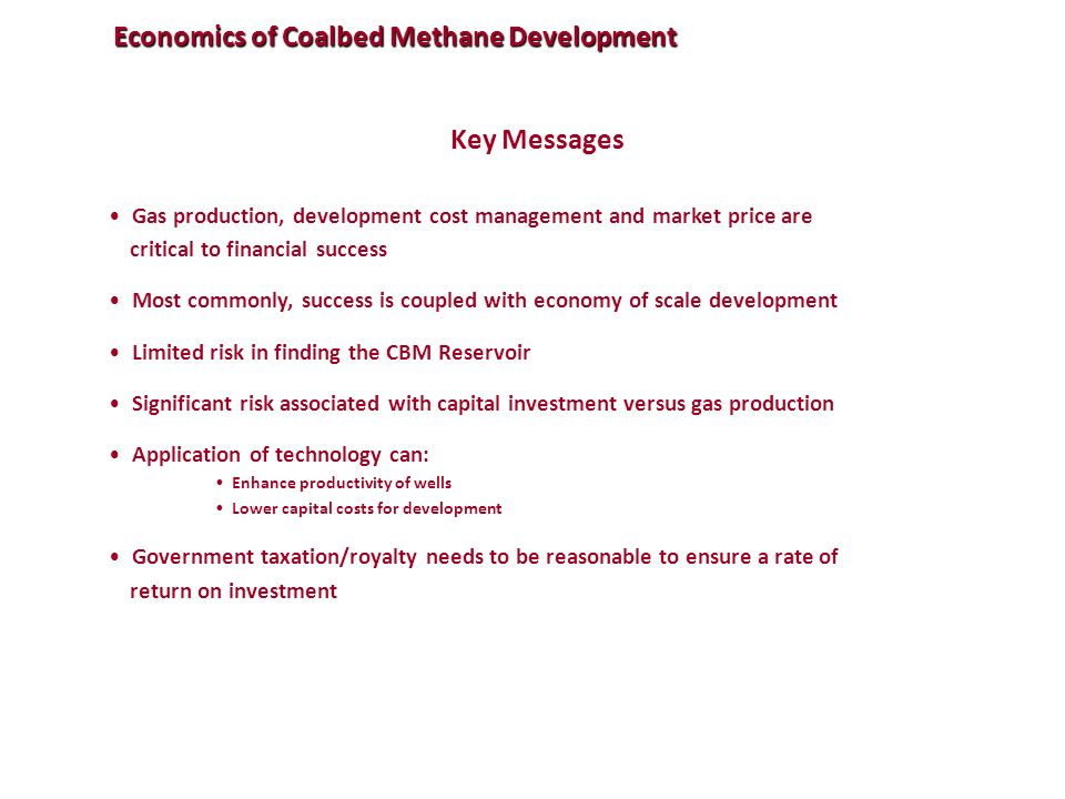 Economics of Coalbed Methane Development