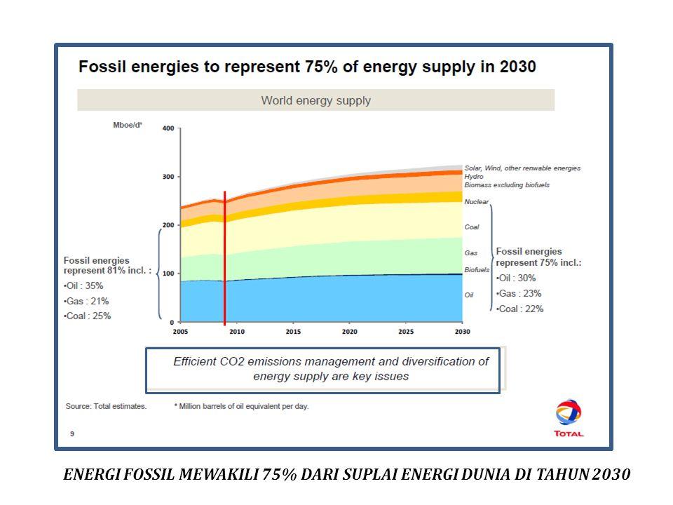 ENERGI FOSSIL MEWAKILI 75% DARI SUPLAI ENERGI DUNIA DI TAHUN 2030