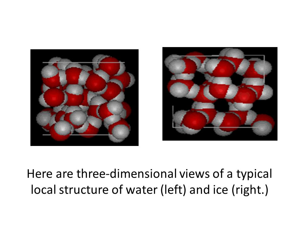 Here are three-dimensional views of a typical local structure of water (left) and ice (right.)
