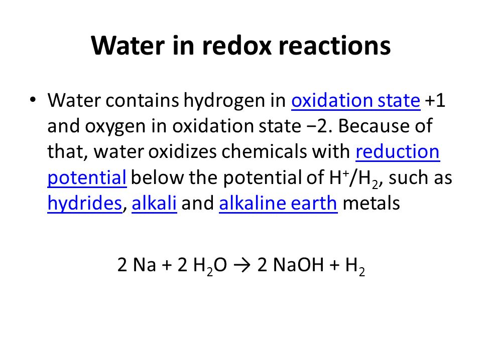 Water in redox reactions