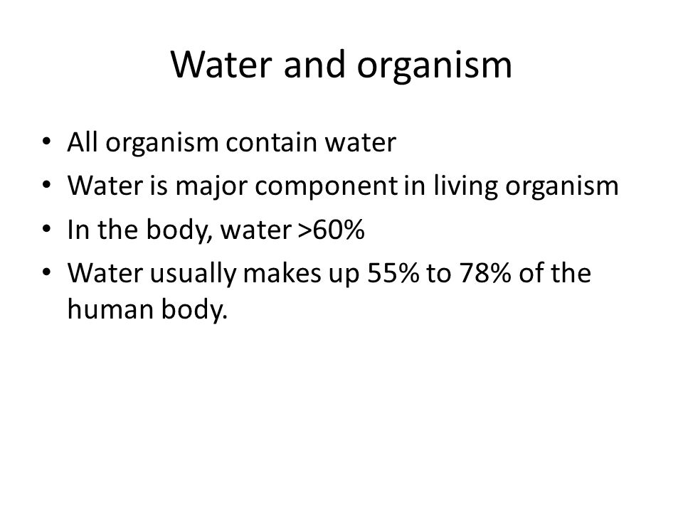 Water and organism All organism contain water