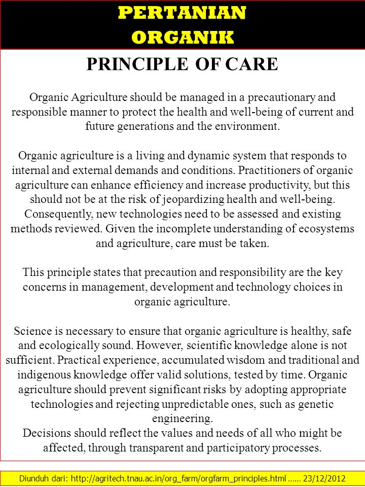 PERTANIAN ORGANIK PRINCIPLE OF CARE