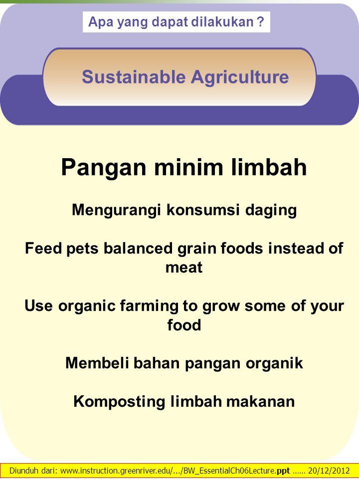 Pangan minim limbah Sustainable Agriculture Mengurangi konsumsi daging