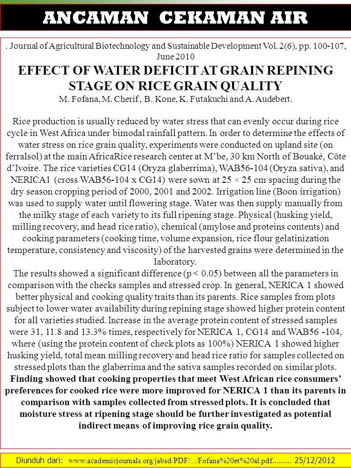EFFECT OF WATER DEFICIT AT GRAIN REPINING STAGE ON RICE GRAIN QUALITY