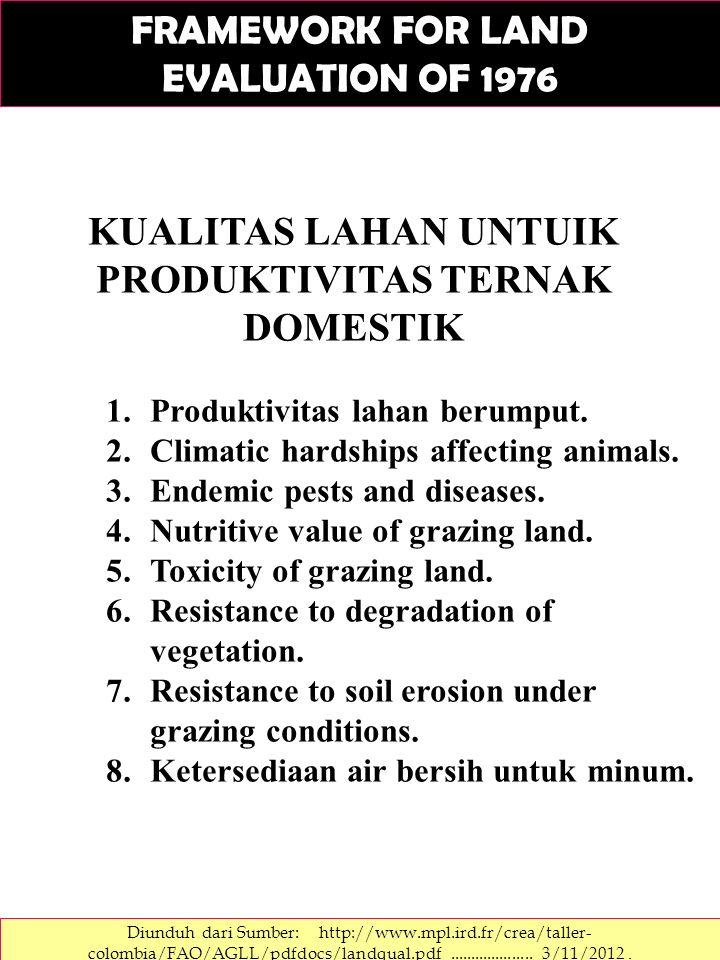 KUALITAS LAHAN UNTUIK PRODUKTIVITAS TERNAK DOMESTIK