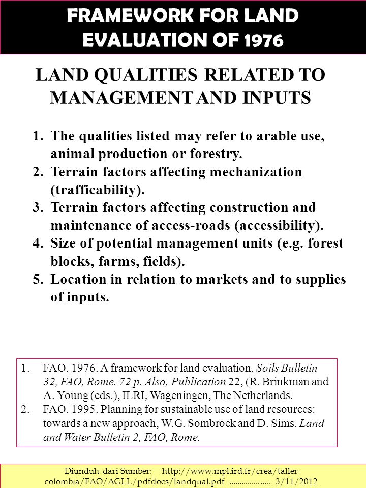 LAND QUALITIES RELATED TO MANAGEMENT AND INPUTS