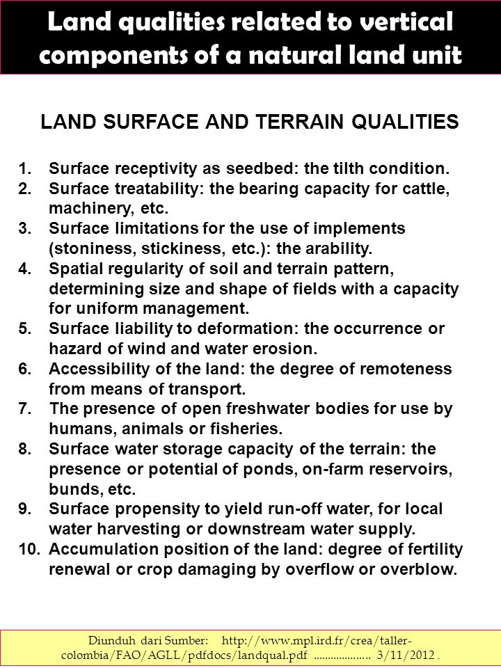 LAND SURFACE AND TERRAIN QUALITIES
