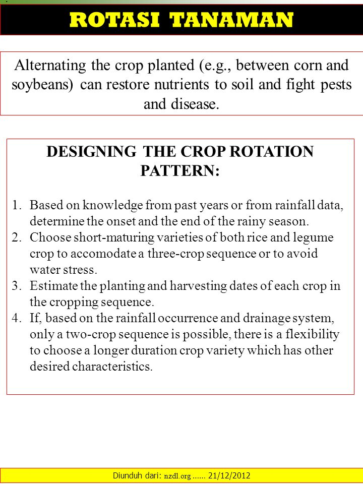 DESIGNING THE CROP ROTATION PATTERN: