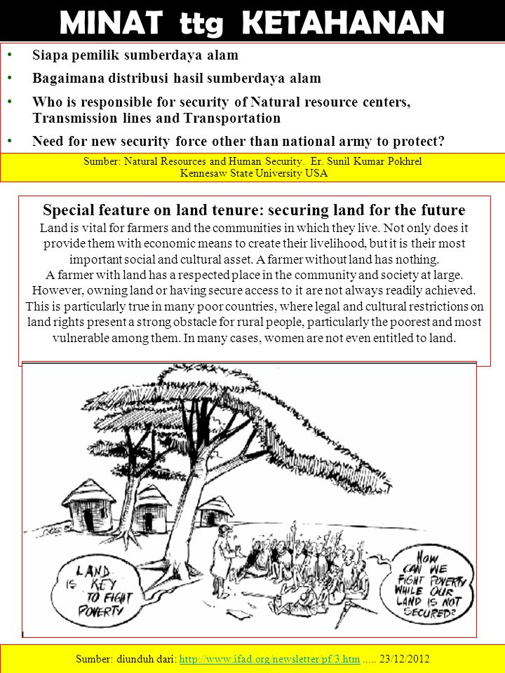 Special feature on land tenure: securing land for the future