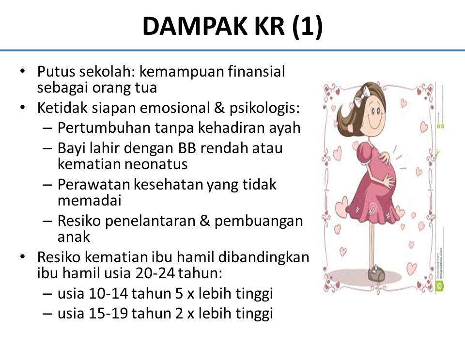 DAMPAK KR (1) Putus sekolah: kemampuan finansial sebagai orang tua