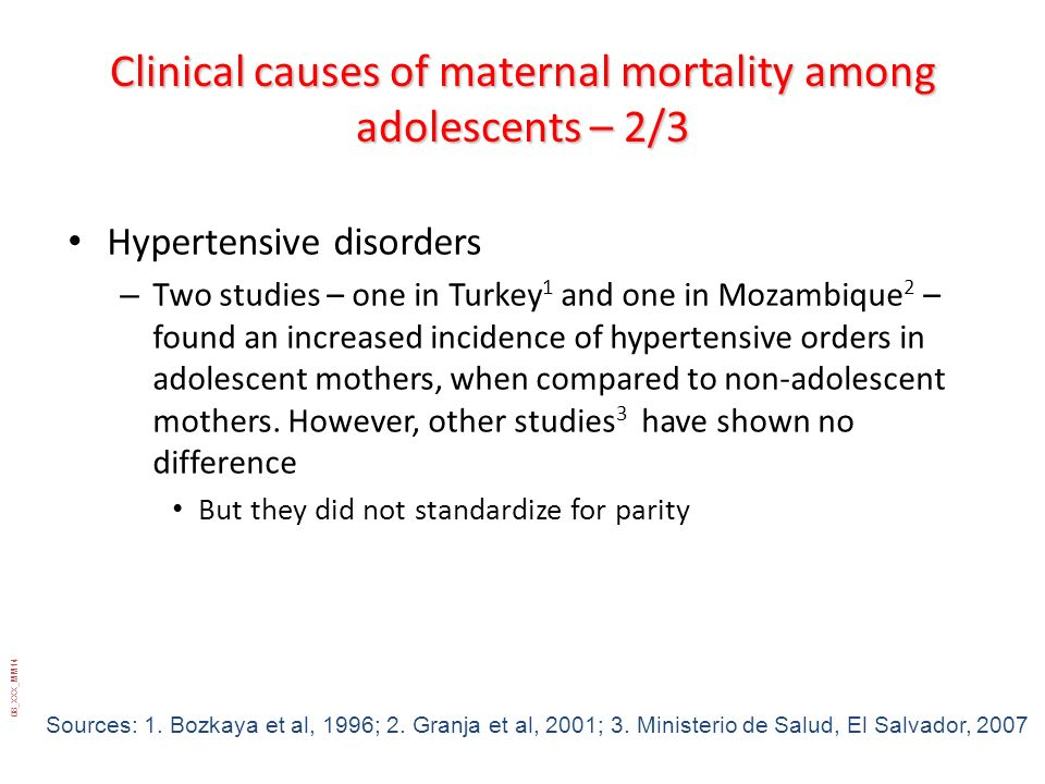 Clinical causes of maternal mortality among adolescents – 2/3