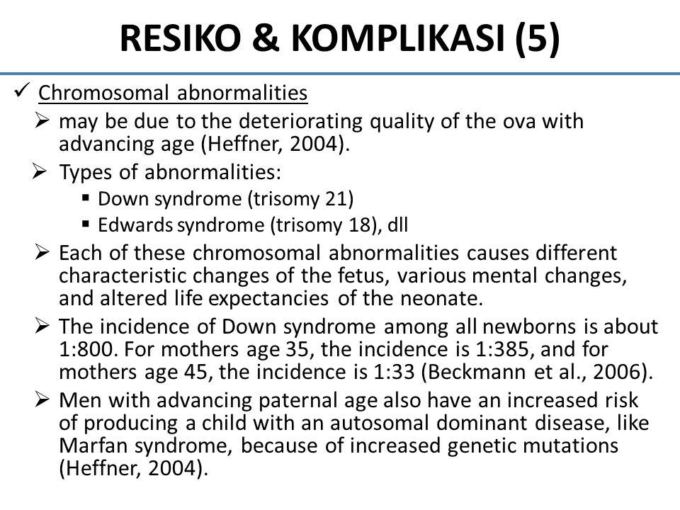 RESIKO & KOMPLIKASI (5) Chromosomal abnormalities