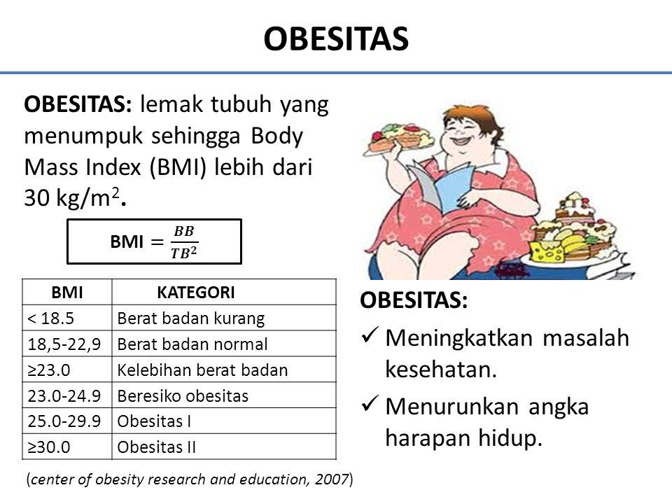 OBESITAS OBESITAS: lemak tubuh yang menumpuk sehingga Body Mass Index (BMI) lebih dari 30 kg/m2. BMI = 𝑩𝑩 𝑻𝑩 𝟐.