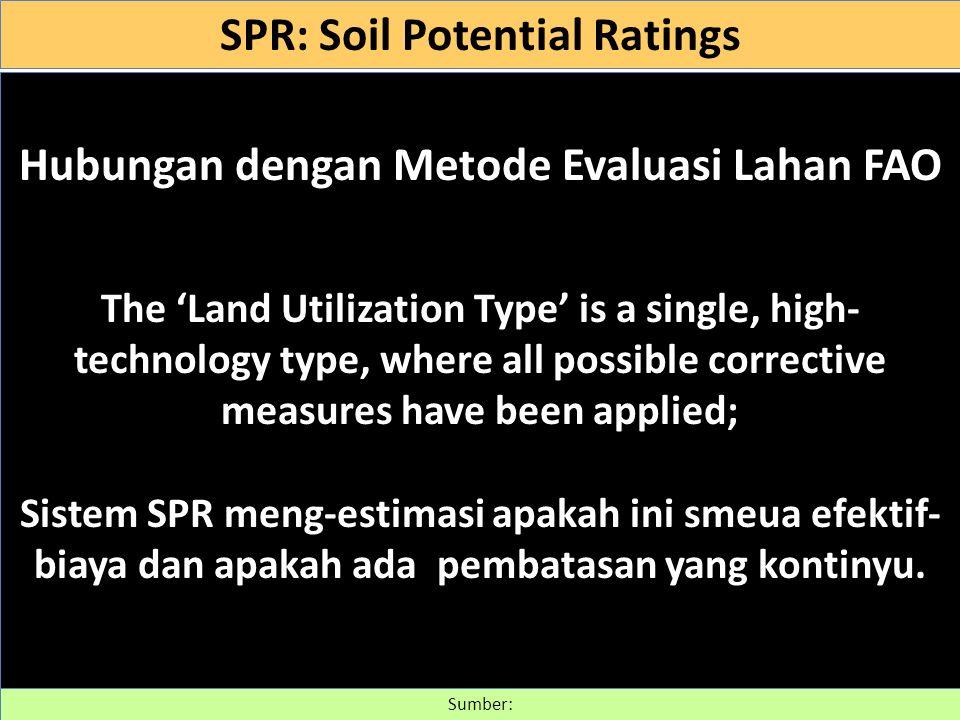 SPR: Soil Potential Ratings Hubungan dengan Metode Evaluasi Lahan FAO